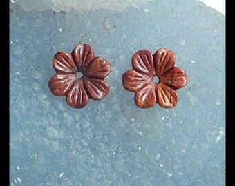 Carved Multi-Color Picasso Jasper Flower Cabochon Pair,14x2mm,0.9g