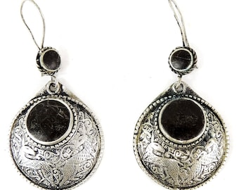 Earrings Silver Round Stone Afghanistan 107503