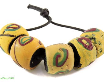 5 Venetian Trade Beads Yellow Black Core Africa Loose 109339