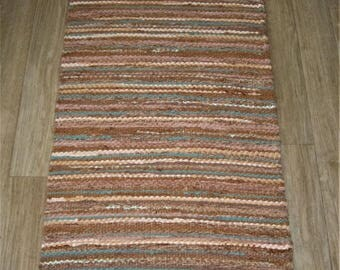 Handwoven, Scandinavian style,  vintage look,rag rug -1.7' x3.87', cocoa, beige, turquoise blue, ready for sale