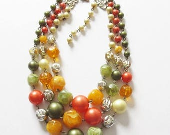 On Sale Triple Strand Beaded Bib Necklace Vintage Earth Tone Fruit Salad Beaded Bib Necklace