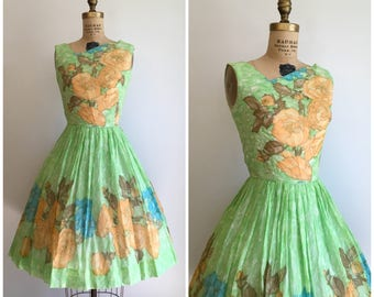 Reserved // Vintage 1950's Roses Green Orange Floral Novelty Print Dress 50's Border Print