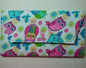 Pink & Blue Owl Fabric Wallet