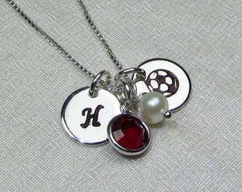 Soccer Mom Necklace Mothers Necklace Personalized Birthstone Necklace Initial Necklace Monogram Jewelry for Mom Sports Jewelry Team Gifts