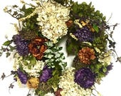 "CHRISTMAS IN JULY Fall Wreath Elegant Wreath Winter Wreath Spring Silk Floral Peony Garden Variety Purple Plum Sage Green Rust Gold  Xl 27""x"