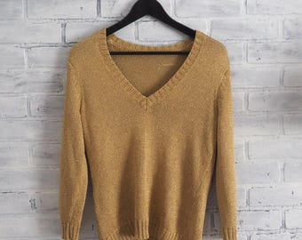 Vintage Gold Lame V neck Sweater