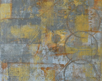 "Small Abstract Painting ... 12 x 12"" Acrylic on Canvas ... Grey Orange Metallic Gold ... Original Art Painting ... Modern Painting"