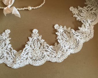 Ivory Alencon Lace Trim Luxury Beaded Sequined Wedding Lace Trim Embroidered Retro Lace Bridal Lace 5.11 Inches Wide 1 Yard