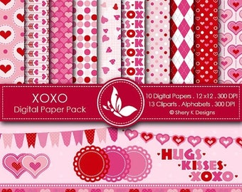 40% off XOXO Paper Pack - 10 Printable Digital papers - 12 x12 - 300 DPI