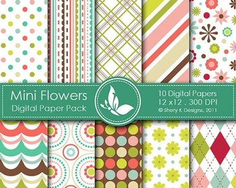 40% off Mini Flowers Paper Pack - 10 printable Digital Scrapbooking papers - 12 x12 - 300 DPI