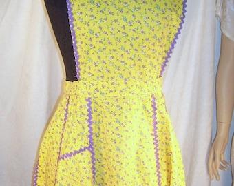 ON SALE Vintage Farm Kitchen Bib Apron Cotton Print Tie Back Purple Yellow Calico Roses