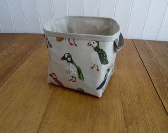 Puffin Print Large Storage Basket Bin- linen cotton mix lining
