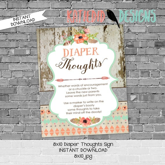 Diaper sign baby shower game 8x10 diaper thoughts advice arrow sprinkle mint green coral BOHO tribal rustic chic printable 1445