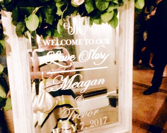 Wedding Welcome Sign Mirror Decal To Our Love Story Vinyl