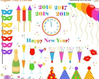 40% OFF SALE New Year's Eve Clip Art Bright - Party Clip Art - Instant Download - Commercial Use