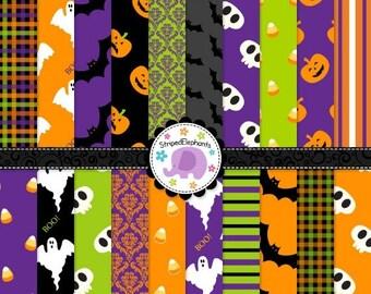 40% OFF SALE Halloween Digital Scrapbook Paper, Halloween digital paper, Halloween digital backgound, Instant Download, Commercial Use