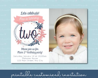 Coral and Navy Blue Wreath with Age Birthday Invitation