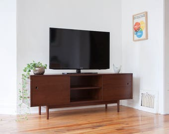 Mid Century Modern Style  TV Console  / Sideboard / Credenza / Media Cabinet - Walnut