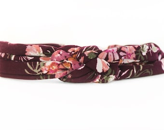 Plum Floral Baby Headband - Floral Holiday Headband - Newborn Floral Headband - Baby Headwrap - Coming Home Headband - Baby Headband