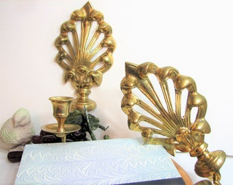 Vintage Brass Candle Wall Sconces, Candlestick Pair, Set of 2, Stylized Fleur de Lis, Taper Candle Holders ... Mid-Century, Regency