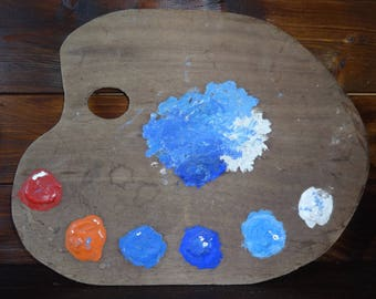 Vintage English Wooden Artist Palette Paint Mixing Board Easel Painting Atelier Window Display Prop Display circa 1960-70's / English Shop