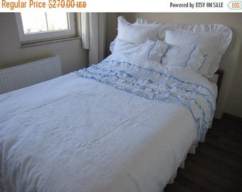 Solid White Ruffle Pillow Cover Cotton Euro Sham Ruffled