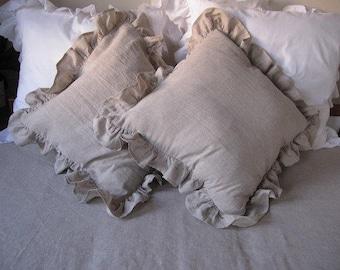 Linen ruffle euro pillow SHAM- Ivory White oatmeal 20x20 sofa couch ruffled linen decorative pillow - Queen king shabby chic bedding pillow
