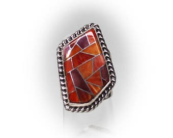 Sterling Silver Orange Spiny Oyster Inlaid Ring