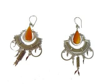 Vintage Orange Chalcedony Tribal Ethnic Chandelier Earrings #2372