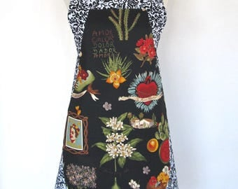 Apron-Artist Frida Kahlo-Frieda-Reversible 2 Aprons in One! Mexican Folk Art Folklorico-Heart-Hand Milagro-Flowers-Cactus-Day of the Dead