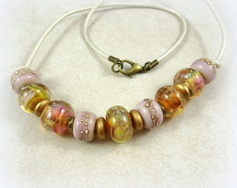Pink and Gold Lampwork Bead Necklace, Leather Cord Necklace, Pink Choker Necklace, One of a Kind Necklace, Bohemian Artisan Necklace