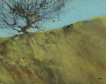 Original abstract landscape painting - Gilfach hawthorn