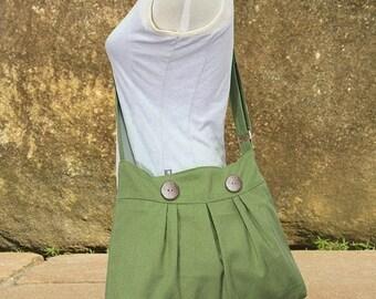 On Sale 20% off Grass green canvas messenger bag, shoulder bag, diaper bag, travel bag cross body bag with buttons, zipper closure