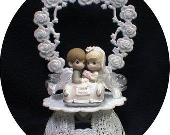 Hot rod Car Driver PRECIOUS MOMENT Wedding Cake Topper top NasCar racing funny  Heart OR Moon backdrop