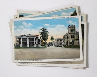 8 Vintage Panama Used Postcards