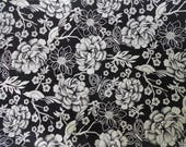 Black and Cream Floral Print Cotton Fabric - Flowers, Birds, and Butterflies - All Cotton Fabric - Destash Fabric - Ready to Ship
