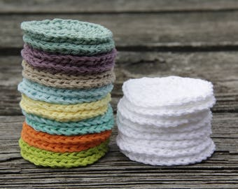 Face Scrubbies - Set of 4 Facial Rounds Makeup Remover Pads Reusable Cotton Rounds Face Cloths Mini Washcloths