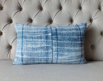 Vintage Indigo batik Hmong cushion cover, hemp Fabric,Scatter cushions-Cushions and pillows