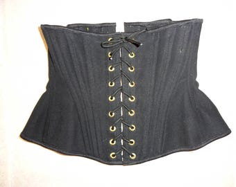 "Black Canvas Corset XS 21"" for a 24-26"" waist  -  gold eyelets (Artifice photoshoot sample)"