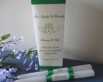 Three Piece Personalized Irish Claddagh square unity set - Grn and wht Unity Candle set - perfect for Irish weddings