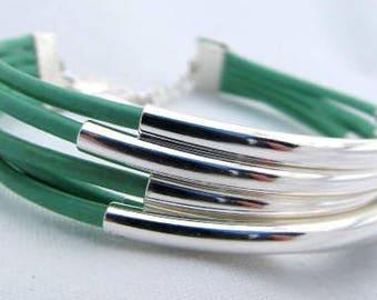 Turquoise Leather Silver 5 Strand Bracelet Adjustable Shiny
