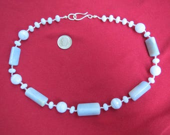 Chunky Necklace in Pale Blue Agate with Sterling Clasp