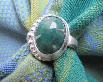 Genuine Emerald in Granulated Argentium Sterling Ring Size 8 & a Half