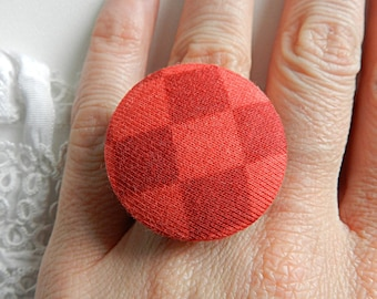 Adjustable checkered fabric ring orange and red