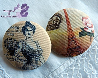 2 fabric buttons, Paris retro 1.25 in / 32 mm