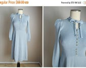 VACATION SALE - 10% off - vintage 80s light blue st. john dress --womens xsmall- 30-26-44