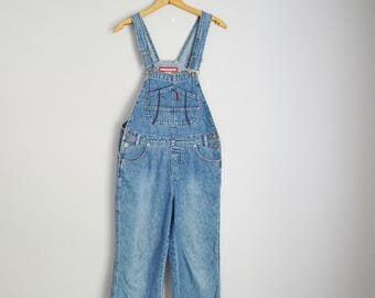 vintage 90s denim jean cropped pedal pusher capri overall bib dungaree pants -- womens small