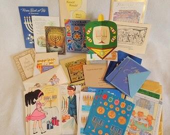 Vintage Jewish Hanukkah Ephemera Journal Lot.. Cards, Stickers & More 30+ Pieces