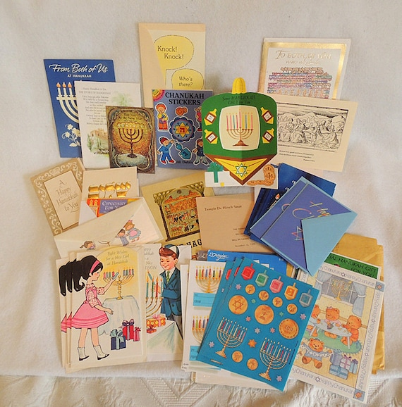 Vintage Jewish Hanukkah Ephemera Journal Lot.. Cards, Stickers & More 30+ Pieces