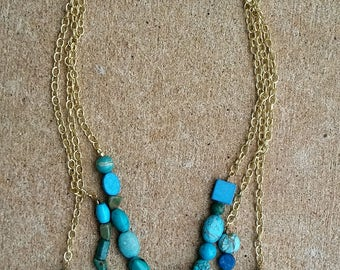 Turquoise and Gold Beaded Chain Necklace